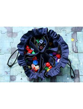 Made To Order   Colossal Bag Of Many Dice   Large 6 Pocket Dice Bag  Black And Navy Blue   Can Hold A Pound Of Dice! by Etsy