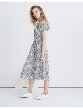 Smock Waist Peasant Midi Dress In Blossoming Vines by Madewell
