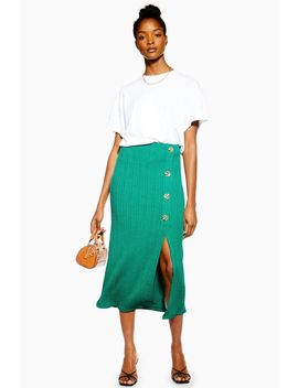 Green Button Ribbed Midi Skirt by Topshop