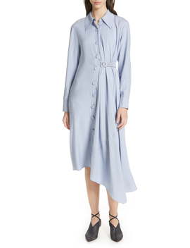 Asymmetrical Chambray Shirtdress by Tibi