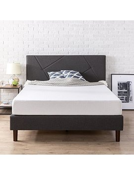 zinus-upholstered-geometric-paneled-platform-bed-_-mattress-foundation-_-easy-assembly-_-strong-wood-slat-support,-queen by zinus