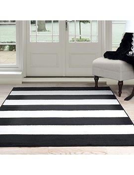 "Lavish Home Breton Stripe Area Rug, 3'3"" By 5', Black/White by Lavish Home"