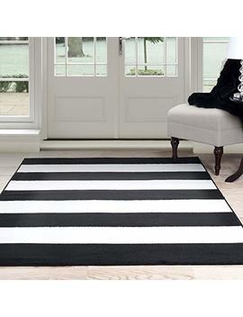 "Lavish Home Breton Stripe Area Rug, 5' By 7'7"", Black/White by Lavish Home"