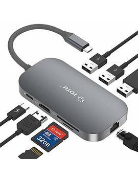 Usb C Hub, Totu 8 In 1 Type C Hub With Ethernet Port, 4 K Usb C To Hdmi, 2 Usb 3.0 Ports, 1 Usb 2.0 Port, Sd/Tf Card Reader, Usb C Power Delivery, Portable For Mac Pro And Other Type C Laptops (Silver) by Totu