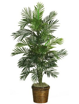 Nearly Natural 5263 03 Areca Palm Decorative Silk Tree With Basket, 4 Feet, Green by Nearly Natural