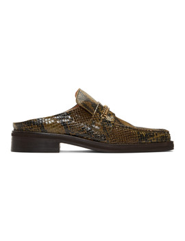 Brown Snake Slip On Loafers by Martine Rose