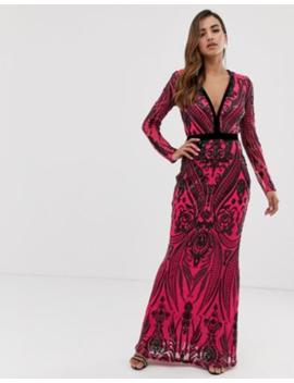 Goddiva   Robe Longue Décolleté Plongeant Ornée De Sequins   Noir Et Rose by Goddiva