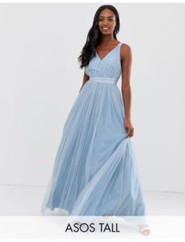 Vestido De Graduación Largo En Tul Con Lazos De Cinta De Asos Premium Tall by Asos Design
