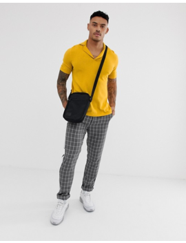 38bec685ba6 Shoptagr | Asos Design Knitted Revere Polo T Shirt In Mustard by ...