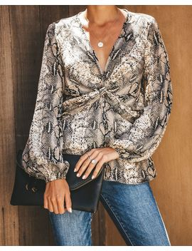 b27b08ee4f304 Tongue Twister Snake Print Blouse by Vici