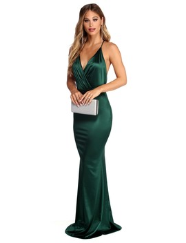 a08aab66eb8b8 Shoptagr | Evelina Plunging Formal Satin Dress by Windsor