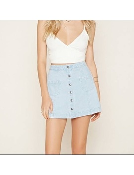 acd6ba3a1361 Shoptagr | Light Wash Button Up Denim Skirt by Forever 21