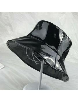 2201dd36ea678 Women Men Black Pvc Bucket Hat Fishing Bush Cap Faux Leather Beach Fashion  New by Ebay
