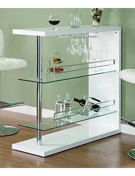 Rectangular 2 Shelf Bar Unit With Wine Holder Glossy White