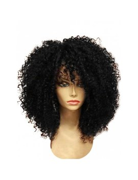 Medium Full Bang Shaggy Afro Curly Synthetic Wig   Black by Rosewholesale