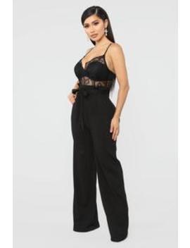 83ad14d31681 Shoptagr | Roof Top Party Lace Jumpsuit Black by Fashion Nova