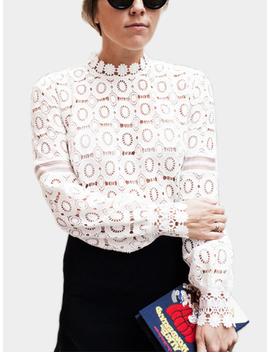 White Hollow Design High Neck Long Sleeves Top by Yoins