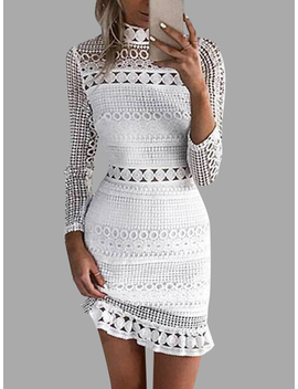 White Lace Cut Out Design High Neck Long Sleeves Dress by Yoins