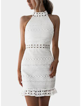 White Lace Cut Out Design High Neck Sleeveless Dress by Yoins