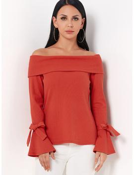 Orange Off Shoulder Bell Sleeves Tie Up Design Sweater by Yoins