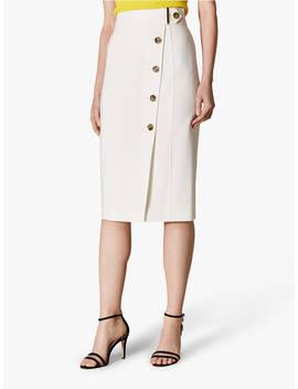 2d1f93e45c Shoptagr | Karen Millen Buttoned Pencil Skirt, Ivory by Karen Millen