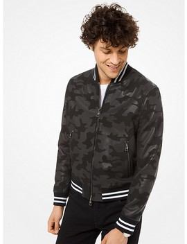 Camouflage Leather Varsity Jacket by Michael Kors Mens