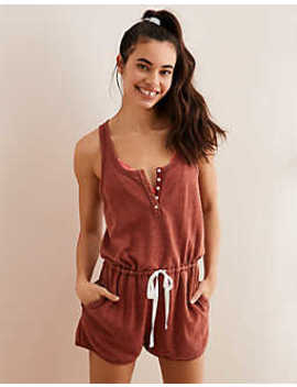 405daad346 Shoptagr | Aerie Washed Henley Fleece Romper by American Eagle ...