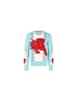 e9a513515 Shoptagr | Leopard Print Embroidered Sweater by Gucci