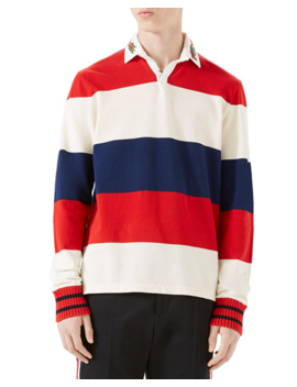 2e8b6c9d6 Shoptagr | Gucci Striped Pique Rugby Shirt With Dragon Embroidery by ...