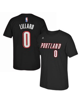 5716ff049021 Men s Portland Trail Blazers Damian Lillard Adidas Black Net Number T Shirt  by Nba Store