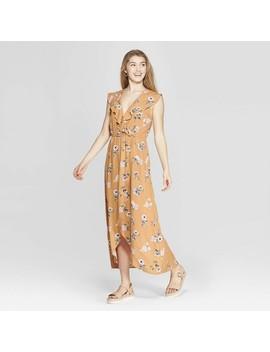 3927b81b9 Shoptagr | Women's Floral Print Flutter Sleeve V Neck Wrap Maxi ...
