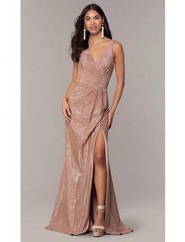 36d4ec5f2fc Long Metallic Designer Prom Dress By Faviana by Faviana
