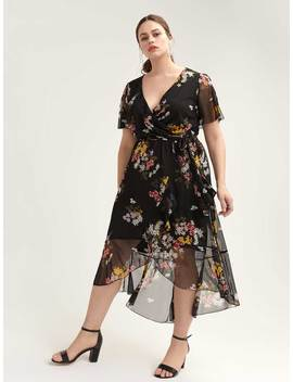 fe566320a8a High Low Mesh Floral Dress With Flutter Sleeves by Addition Elle