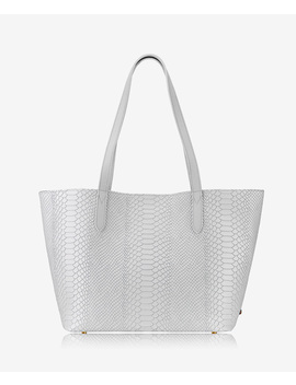 Teddie Tote by White Embossed Python