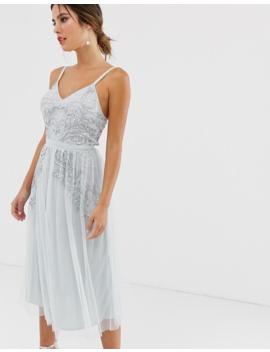 5b43d1509ee0 Shoptagr | Maya Plunge Front Embellished Cami Strap Midi Dress In ...