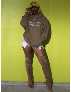 Coffee Kinda Classy Kinda Hood Monogram Pockets Drawstring Hooded Casual Pullover Sweatshirt