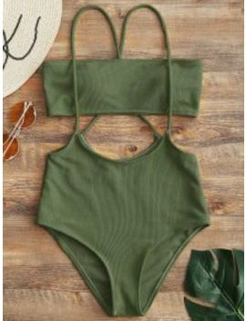 d025e7105f5 Hot Bandeau Top And High Waisted Slip Bikini Bottoms Army Green M by Zaful