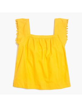 Square Neck Top With Pom Poms by J.Crew