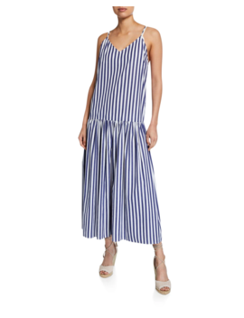0a845ea1e7443 MARA HOFFMAN. RAFFAELLA STRIPED V-NECK DROP WAIST ORGANIC COTTON MAXI DRESS