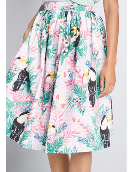 Tropical Twirl Midi Skirt by Hell Bunny