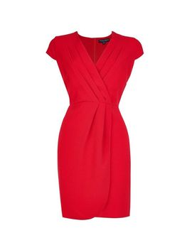 **Red Pleated Front Dress by Dorothy Perkins