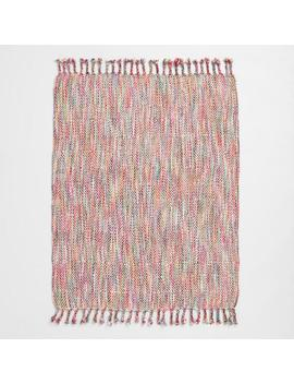 Pink Multicolor Stitch Fringe Throw Blanket by World Market