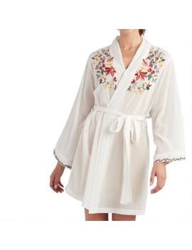 White Floral Embroidered Delilah Robe by World Market