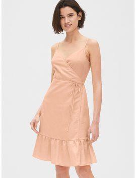 Ruffle Cami Wrap Dress In Linen Cotton by Gap