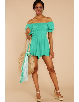 d2e7fd187b21 Shoptagr | Sally Forth Spearmint Off The Shoulder Romper by Entro