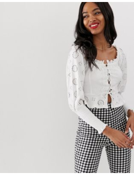 asos-design-shirring-bardot-top-with-broderie-sleeve-and-lace-up-detail by asos-design