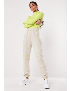 Stone Contrast Stitch Loopback Joggers by Missguided