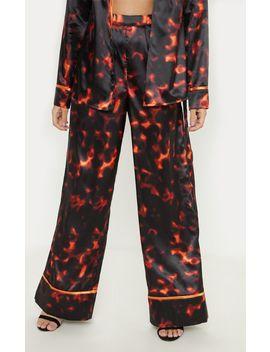 101ade0ac70e Shoptagr | Petite Red Satin Leopard Print Wide Leg Trouser by ...