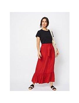 dabdce11f97ab Shoptagr | Red Broderie Anglaise Trim Tie Waist Maxi Skirt by Asda