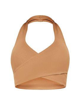 e6f0bf0723e Shoptagr | Camel Bandage Rib Halterneck Cross Front Crop Top by ...